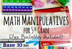 Math Manipulatives for Grade (Free Printable Activities) (Teaching with Jennifer Findley) Teaching 5th Grade, 5th Grade Math, Teaching Math, Teaching Ideas, Math Teacher, Maths, Math Resources, Math Activities, Math Tools
