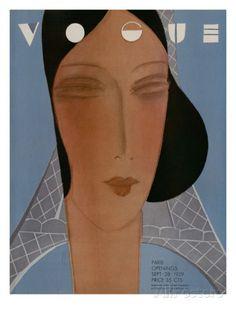 Vogue Cover - September 1929 Regular Giclee Print von Eduardo Garcia Benito bei AllPosters.de