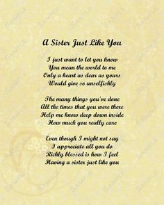 ... about Sister poems on Pinterest | Sister poems, My sister and Sisters