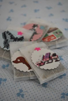 tea with homemade tags - package this with a good book