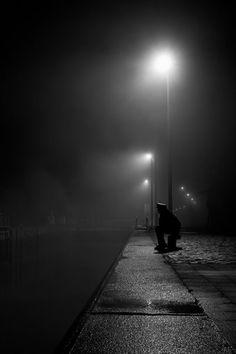 Kunstwerk: 'Waiting at the lock' van Tim Corbeel Alone Photography, Shadow Photography, Dark Photography, Black And White Photography, Street Photography, Photo Triste, Image Triste, Night Aesthetic, Black And White Aesthetic