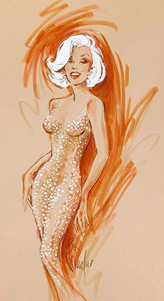 The Perfect Marilyn Monroe: The orginal design drawings by Bob Mackie of the n. - The Perfect Marilyn Monroe: The orginal design drawings by Bob Mackie of the n… - Marilyn Monroe Dibujo, Marilyn Monroe Drawing, Marilyn Monroe Artwork, Earl Moran, Bob Mackie, Couture Vintage, Vintage Barbie, Vintage Dolls, Fashion Drawings