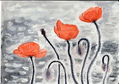 Lakeshore Poppies, Approaching Storm, water color, by me, Mary Stebbins Taitt