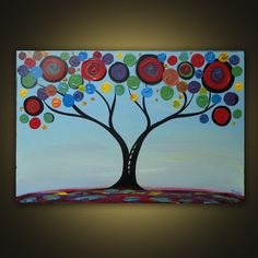 Swirl tree acrylic painting- @Tricia Leach Leach Leach Crawford this reminds me of my flowers i painted senior year. love!