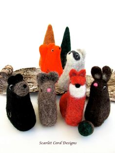 Two Felted Forest Animals - Needle Felted Wool Animal Sculpture Made to Order. $34.00, via Etsy.