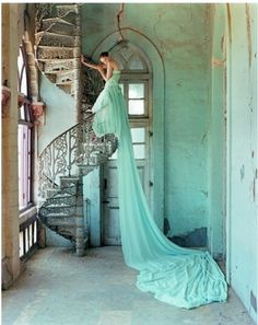 gorgeous staircase, distressed walls, flowy dress