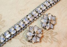 "Vintage Kramer Baby Blue White Givre Rhinestone Bracelet Earrings Demi is simply fabulous and a magnificent find!  This stunning demi is comprised of a wonderful baby blue and white givre glass ""stones""."