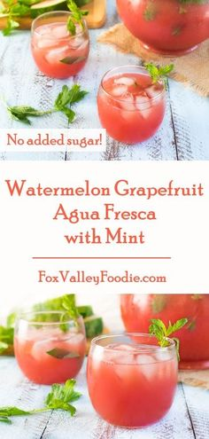Watermelon Grapefruit Agua Fresca with Mint Recipe - No Sugar Added!
