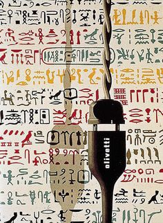Giovanni Pintori, advertising for Olivetti, 1958 In 1936 Adriano Olivetti hired twenty-four-year-old Giovanni Pintori to join the publicity department. For 31 years he put his personal stamp on Olivetti's graphic images. He had an outstanding ability. Ad Design, Print Design, Graphic Design, Graphic Art, Vintage Advertisements, Vintage Ads, Posters Vintage, Book Posters, Poster Ads