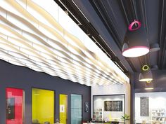 OPTIMA - Mineral fiber acoustic baffle by Armstrong ceilings - Europe Baffle Ceiling, Acoustic Baffles, Lighting Concepts, Acoustic Panels, Interior Lighting, Architecture, Pendant Lighting, Blinds, Arquitetura