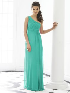 Bridesmaids' Dresses: 'After Six Bridesmaid Dress 6651' (in pantone turquoise or taupe): One shoulder empire waist full length lux chiffon dress with twist detail at draped bodice.