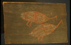 Aboriginal Bark Painting...This small and very early bark painting from Groote island measures only 28 cm X 18 cm, It probably dates from the 1960's and has a very simple but elegant depiction of 2 birds that would have been the totem animals of the unknown artist