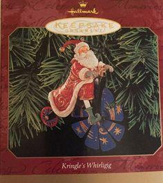 "Hallmark Keepsake ""Kringle's Whirligig"" Handcrafted Christmas Ornament Santa NIB for sale online Hallmark Christmas Ornaments, Christmas Presents, Snowman, Santa, Painting, Xmas Gifts, Painting Art, Paintings, Snowmen"