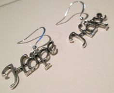HOPE silver plate charm pierced dangle earrings by Ziporgiabella