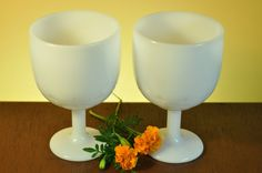 Milk Glass Vintage wedding toast Wine Goblets or Small planters by ClassicCabin on Etsy