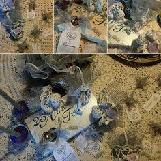 Saccoccini e segnaposto ad uncinetto per festeggiare #25anni #nozzeargento romanticamente elegante