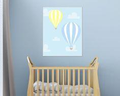Hot Air Balloon Nursery Art Print Yellow and Blue by HopAndPop