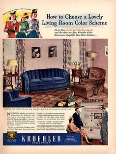 1940 Kroehler Furniture Original Print Ad Large Single Ad - Between 10 x 13 to 11 x 14 inches, suitable for framing. Sala Vintage, Vintage Room, Vintage Home Decor, Retro Ads, Vintage Advertisements, Vintage Ads, 1950s Advertising, Vintage Stuff, 1940s Living Room