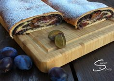 Fine yeast dough filled with poppy seeds and plums Poppy Seed Filling, Poppy Seed Cake, Honey Lemon, Strudel, Dry Yeast, Dessert Recipes, Desserts, Melted Butter, Tray Bakes