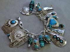 BIG 92Gram STERLING Silver CHARM BRACELET Old Pawn *NAVAJO* ROYSTON TURQUOISE