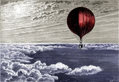 Red Balloon, Airship, Steampunk Flying Machine from 1890s Victorian Engraving, Giclee Print Reproduction
