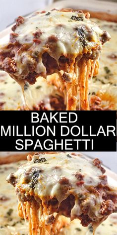 ★★★★★ 122 Baked Million Dollar Spaghetti is creamy with a melty cheese center, topped with meat sauce and extra bubbly cheese. Tastes like a cross between baked ziti and lasagna with half the effort! Easy Baked Spaghetti, Spaghetti Dinner, Spaghetti Lasagna, Baked Cream Cheese Spaghetti, Leftover Spaghetti, Casserole Spaghetti, Easy Dinner Recipes, Easy Meals, Quick Recipes