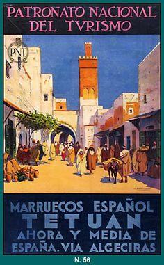 Tetuán, Cartel turístico sobre acuarela de Mariano Bertuchi