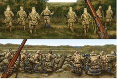 3/4th KAR atacando al Abt. Kruger en Nyangao/Mahiwa, lámina de Johnny Shumate mostrándonos arriba la visión desde el bando británico y abajo desde el germano. La mejor colección de láminas militares en http://www.elgrancapitan.org/foro/
