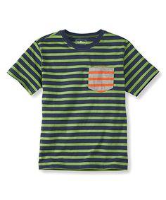 Look what I found on #zulily! Bright Navy & Forest Fern Stripe Pocket Tee - Boys by L.L.Bean #zulilyfinds