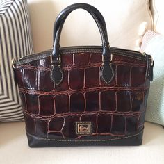 Dooney and Bourke Bag Brown Alligator Leather, long strap included, smoke and pet free, absolutely no stains or wear on straps, dust bag included, good condition! Dooney & Bourke Bags Hobos