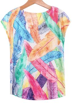 Multicolor Feather Print T-Shirt 5.99