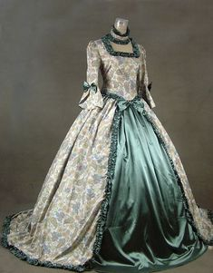 Joanna's gown worn to Versailles, flowered silk robe a l'Anglaise over a verdigris green satin underskirt