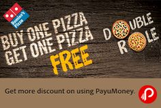 http://www.paisebachaoindia.com/buy-one-get-one-free-pizza-double-role-dominos-pizza/  Domino's Pizza offers Buy One Get One Free Pizza, Double Role, BOGO Friday Offer + Get more discount on using PayuMoney. Coupon Code: MOB06