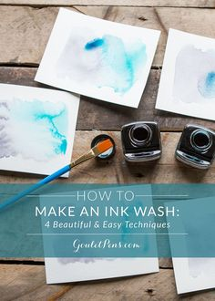 Use your fountain pen ink to create gorgeous art work! Read this blog to discover 4 beautiful and easy ink wash techniques. Pin for later!
