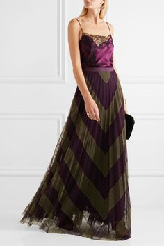 Army-green and dark-purple silk-tulle  Concealed hook and zip fastening at back…