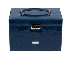 Schmuckkasten dunkelblau Krokoprägung Windrose Limited Edition - Bags & more Suitcase, Wind Rose, Brooches, Artificial Leather, Dark Blue, Briefcase