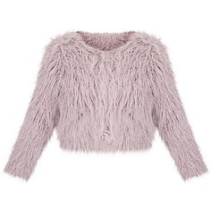 Liddie Grey Faux Fur Shaggy Cropped Jacket ($35) ❤ liked on Polyvore featuring outerwear, jackets, faux fur jacket, cropped jacket, gray jacket, grey jacket and fake fur jacket