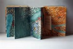 Hand-embroidery on collograph, non-adhesive accordion binding designed by Keith Smith Accordion Book, Book Sculpture, Art Journal Pages, Art Journals, Artist Portfolio, Handmade Books, Altered Books, Book Making, Bookbinding