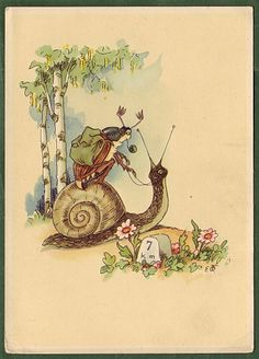 Vintage German postcard, beetle riding a snail.