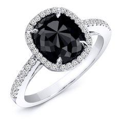 1.60 Carat Black & White Diamond Engagement Ring