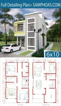 Home Design Plan with 3 Bedrooms.Home Design Plan with 3 Bedrooms. Duplex House Plans, Dream House Plans, Small House Plans, House Floor Plans, Dream Houses, The Plan, How To Plan, Plan Plan, Case Creole