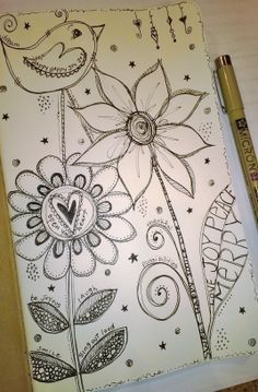Doodling - flowers, bird, words, micron pen 3                                                                                                                                                                                 More