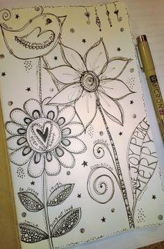 Doodling - flowers, bird, words, micron pen 3