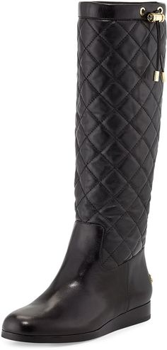 MICHAEL Michael Kors Lizzie Quilted Leather Knee Boot, Black