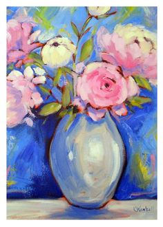 vibrant colorful peony painting -- contemporary artwork by Kristina Wentzell, 5x7 greeting card fine art print