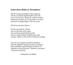 hades persephone poem - Google Search