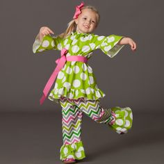 Have a little fashionista? Check out this ensemble featuring Premier Fabrics Dandie Chartreuse (top & pant ruffle) & Zoom Zoom Chartreuse/Candy Pink (pants).