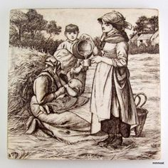 Antique-Mintons-William-Wise-COUNTRY-LIFE-PURSUITS-TILE-Woman-Feeding-Baby
