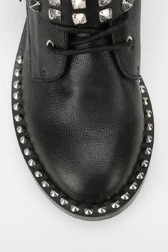 Zipper,Studs, Spikes Details Black Lace-Up #Boot
