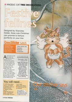 Angelic Cat tree decorations, plastic canvas, cover page, page 1/4pr